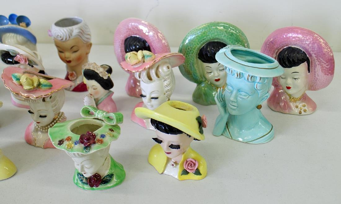 (23) EXOTIC LADY HEAD VASES - 4