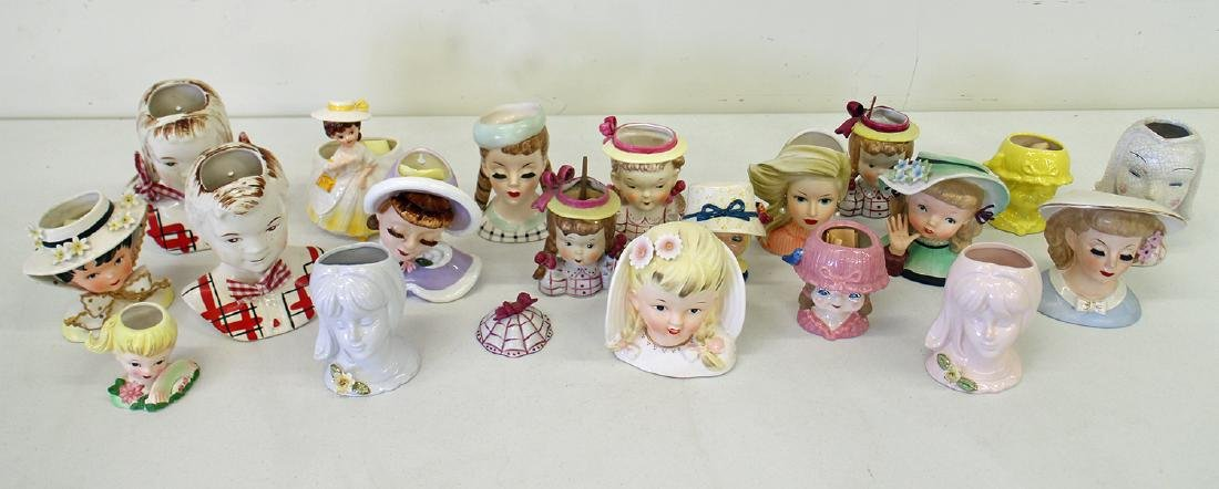 (20) VINTAGE YOUNG GIRL HEAD VASES