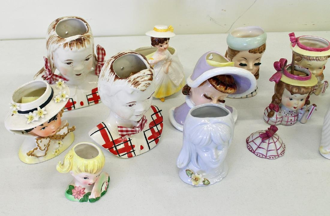 (20) VINTAGE YOUNG GIRL HEAD VASES - 2