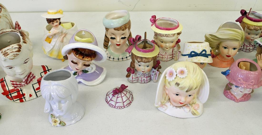 (20) VINTAGE YOUNG GIRL HEAD VASES - 3