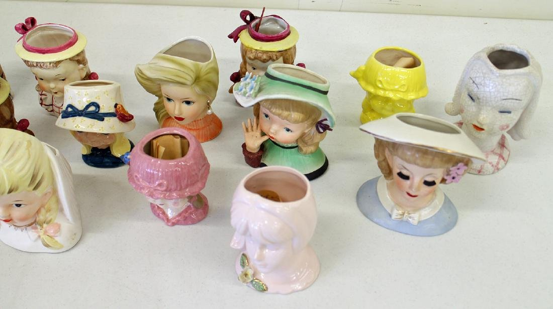 (20) VINTAGE YOUNG GIRL HEAD VASES - 4