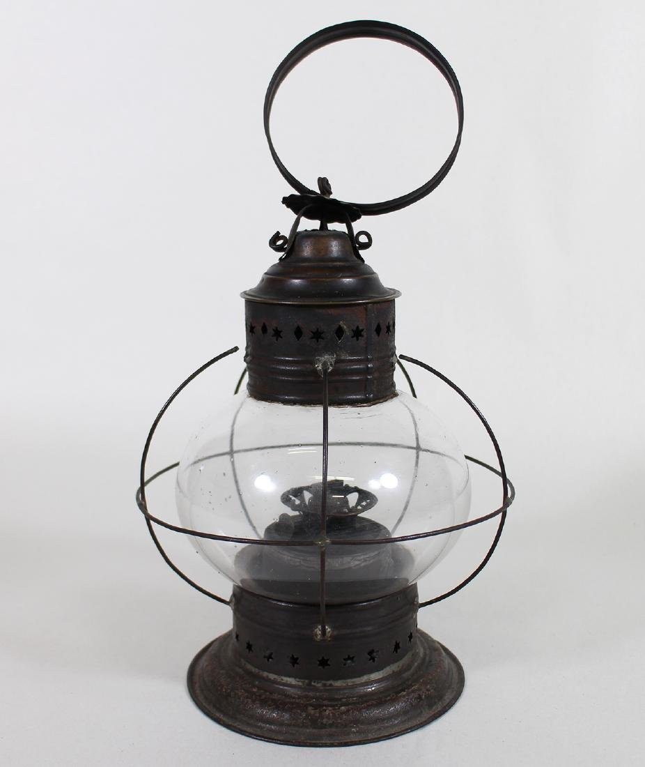EARLY AMERICAN GLASS & PUNCH TIN ONION LANTERN