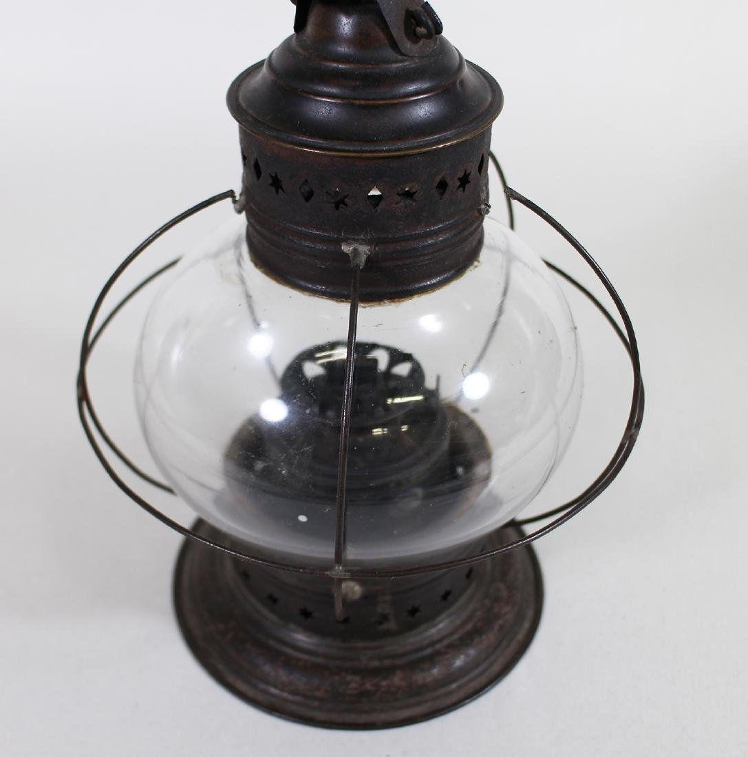 EARLY AMERICAN GLASS & PUNCH TIN ONION LANTERN - 3