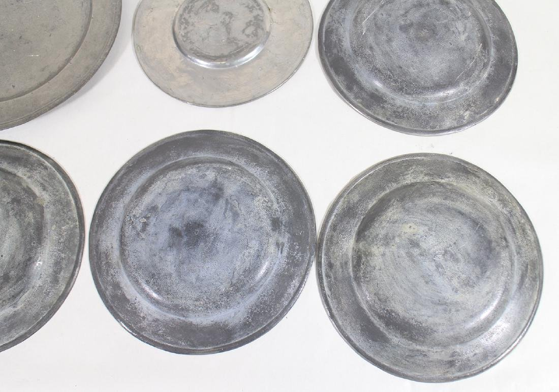 17th/18th CENTURY PEWTER PLATES & CHARGER - 4