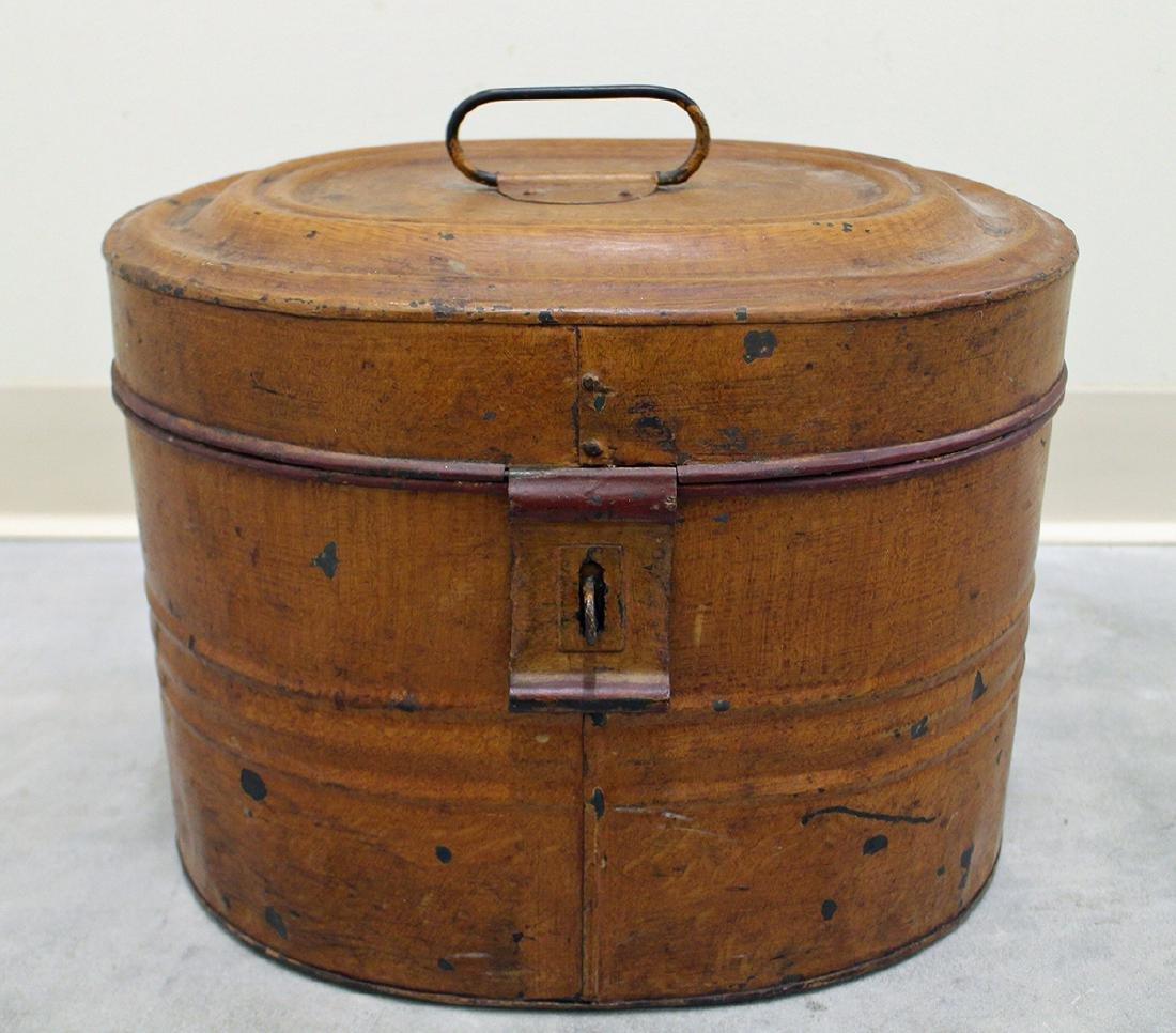 19th CENTURY VICTORIAN TIN HAT BOX