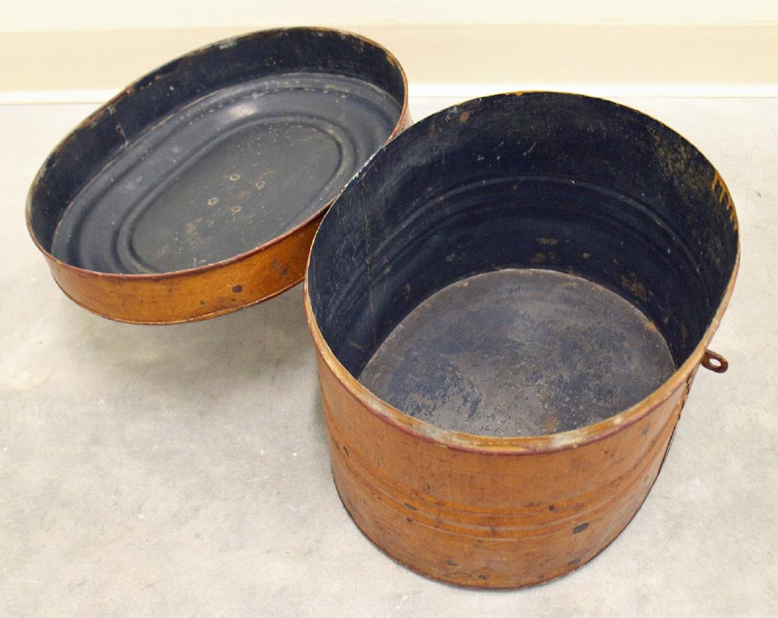 19th CENTURY VICTORIAN TIN HAT BOX - 2