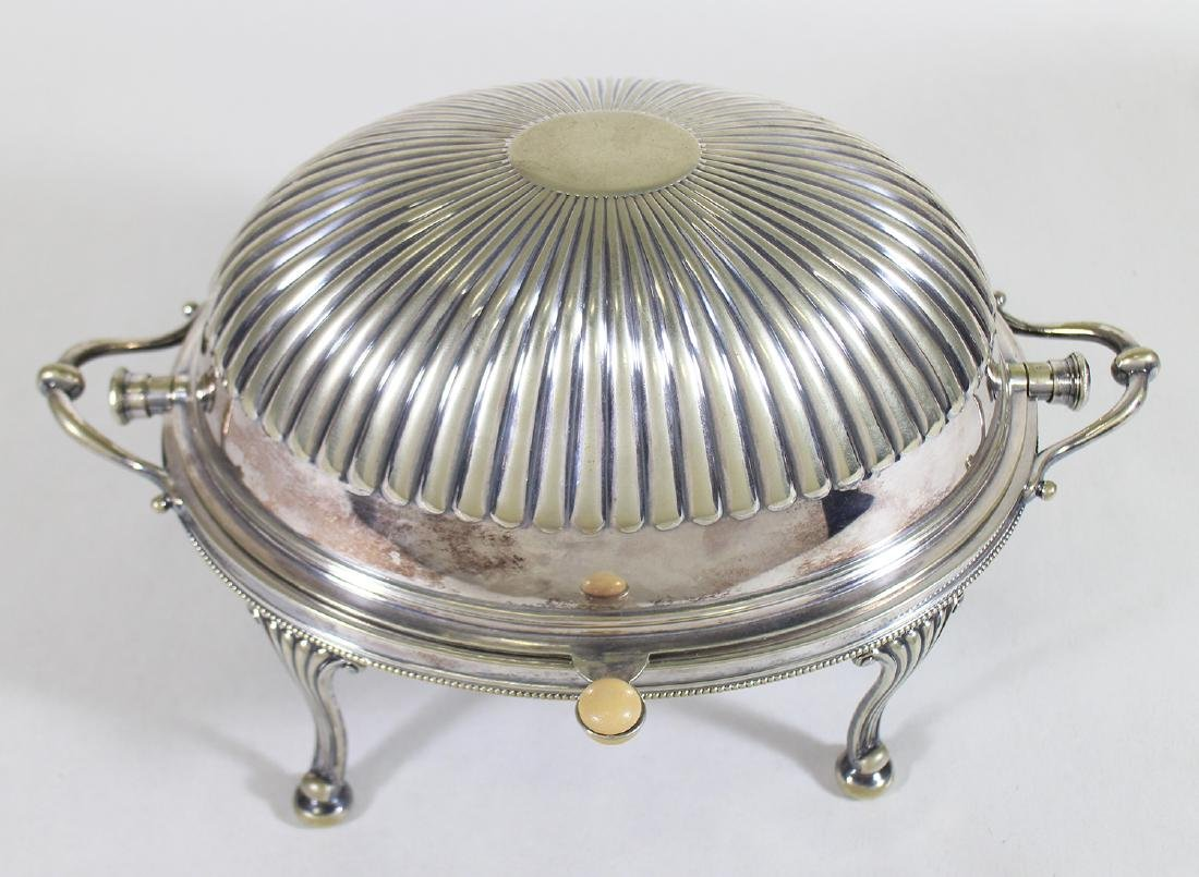ANTIQUE SILVERPLATE CHAFING DISH - 2