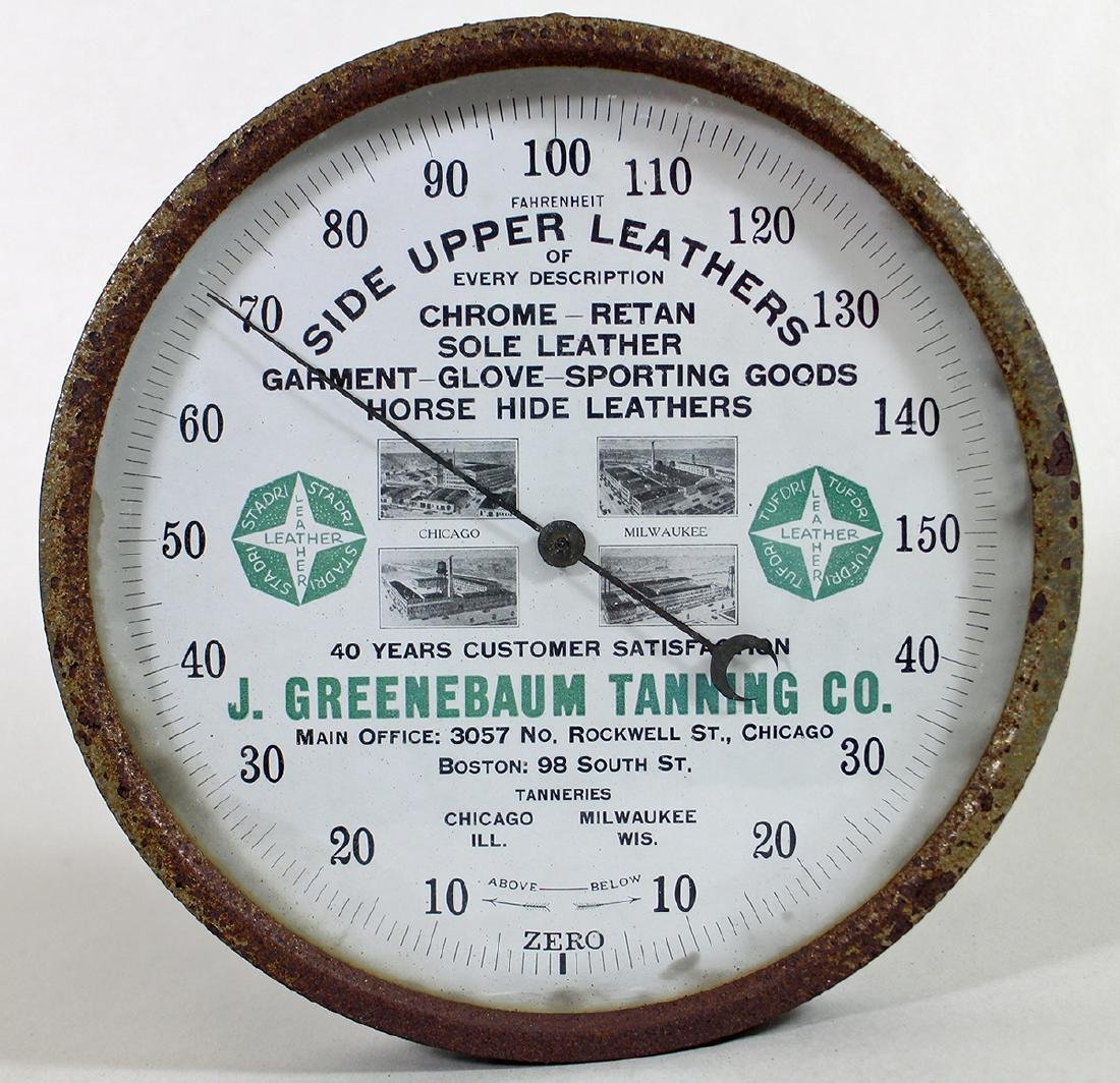 J. GREENEBAUM TANNING CO ADVERTISING THERMOMETER