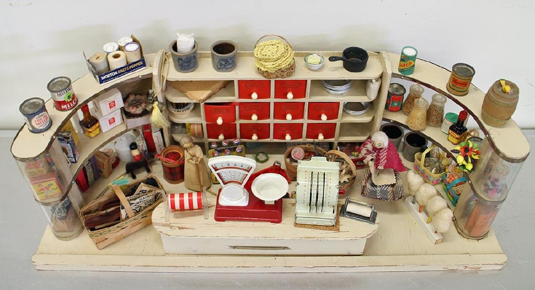 VINTAGE 1950's GERMAN TOY GROCERY STORE DOLLHOUSE - 2