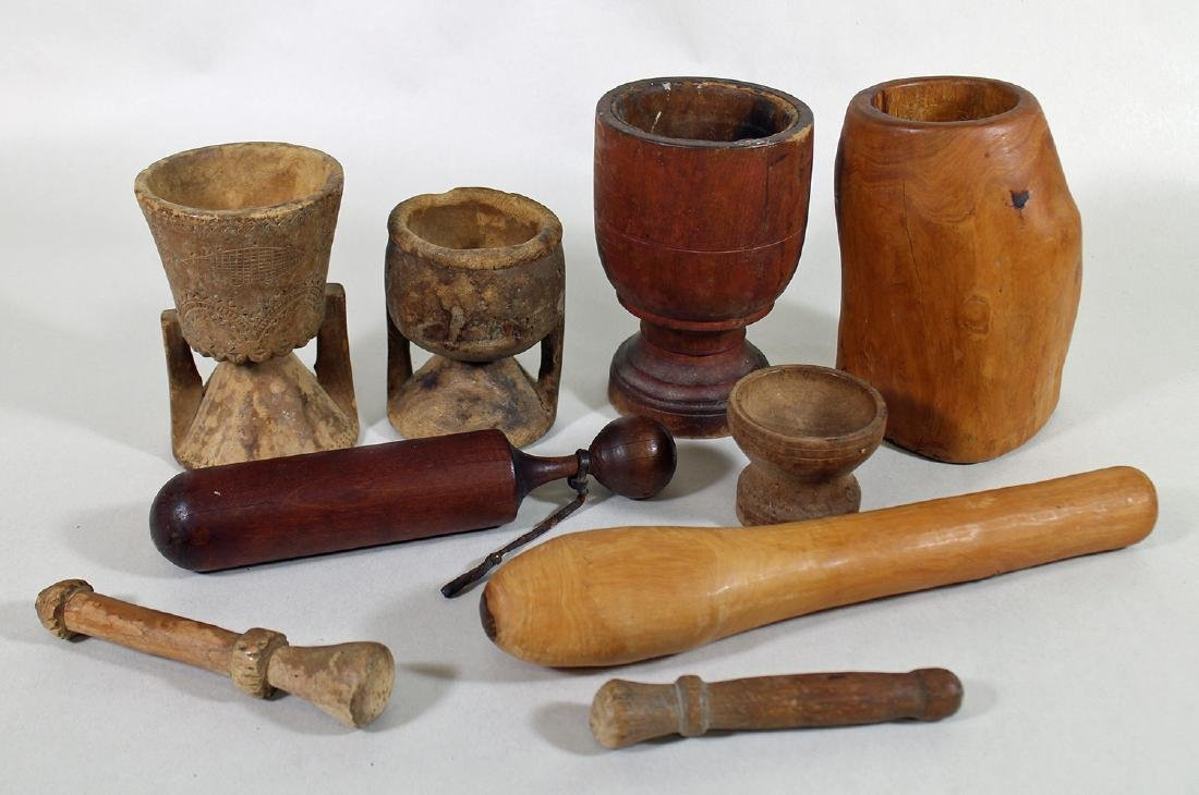 COLLECTION OF EARLY AMERICAN WOOD MORTAR & PESTLES