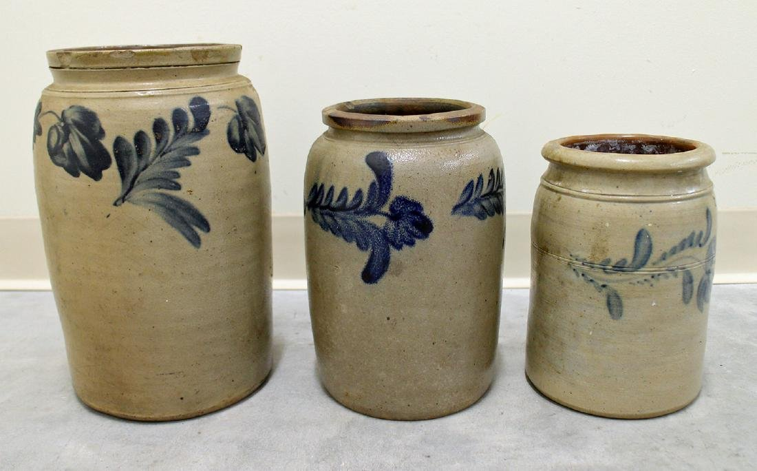 ANTIQUE STONEWARE BLUE FLOWER SPRAY CROCKS