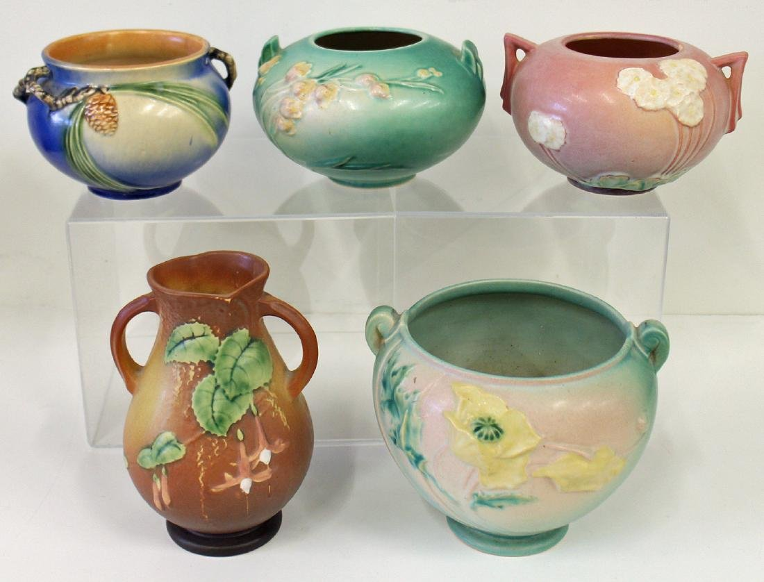 5 PC ROSEVILLE POTTERY ASSORTMENT