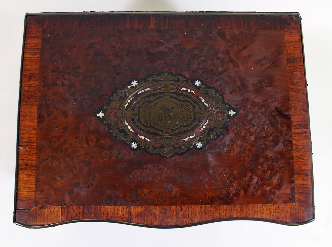 19TH CENTURY INLAID BURLWOOD TANTALUS DECANTER SET - 3