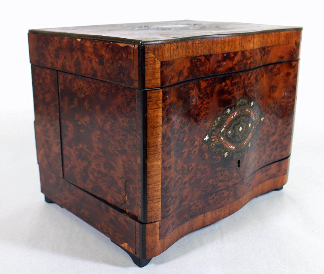 19TH CENTURY INLAID BURLWOOD TANTALUS DECANTER SET - 6