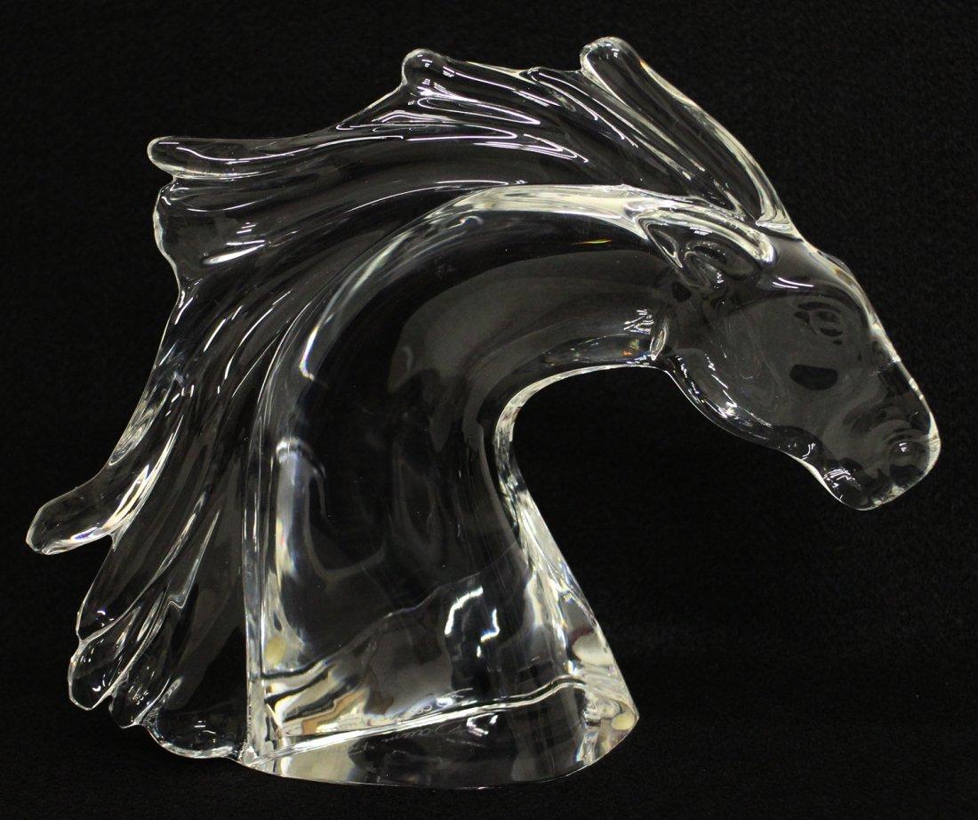 DAUM CRYSTAL HORSE HEAD SCULPTURE