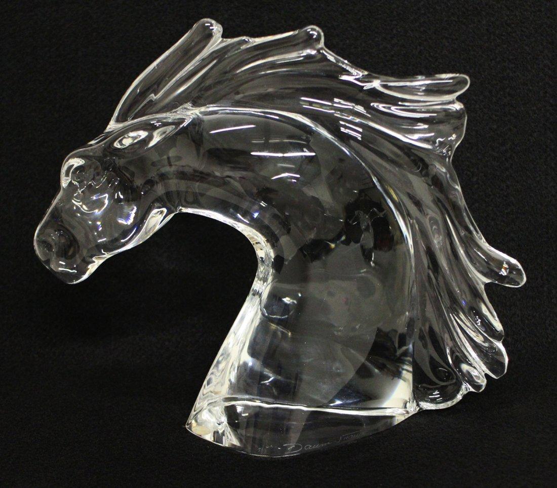 DAUM CRYSTAL HORSE HEAD SCULPTURE - 2