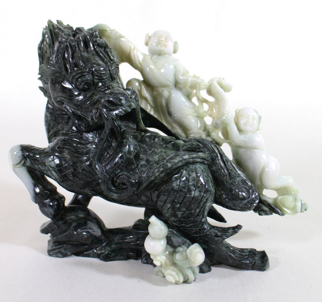 CHINESE TWO TONE JADE SCULPTURE