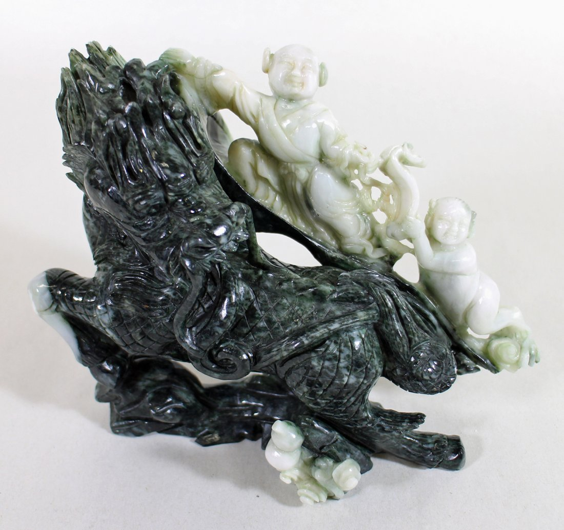 CHINESE TWO TONE JADE SCULPTURE - 2
