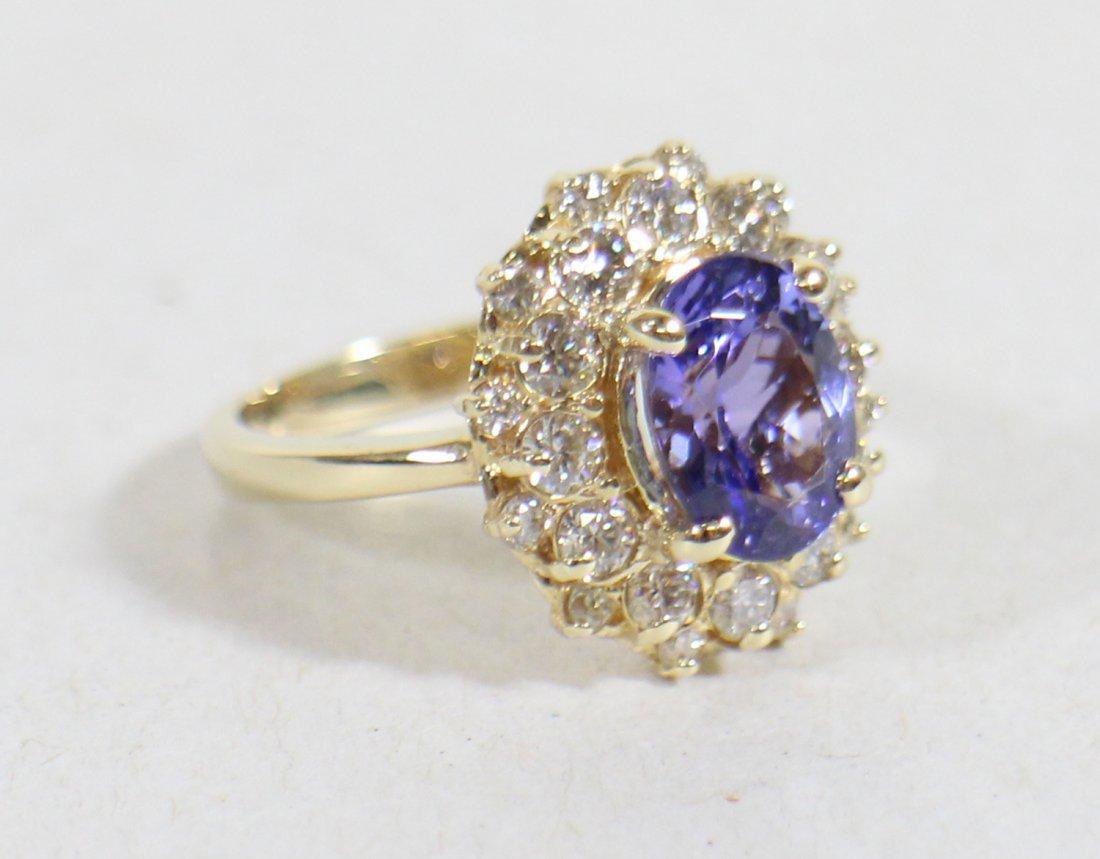 14K TANZANITE & DIAMOND COCKTAIL RING - 2