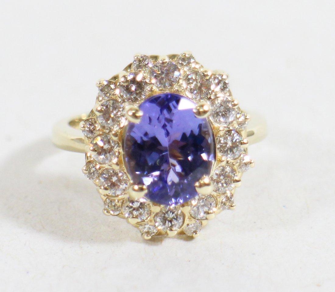 14K TANZANITE & DIAMOND COCKTAIL RING - 3