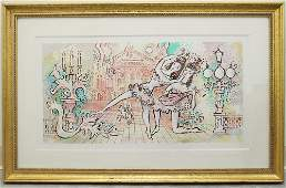 """CHARLES COBELLE FRENCH LITHOGRAPH """"THE LUTE"""""""