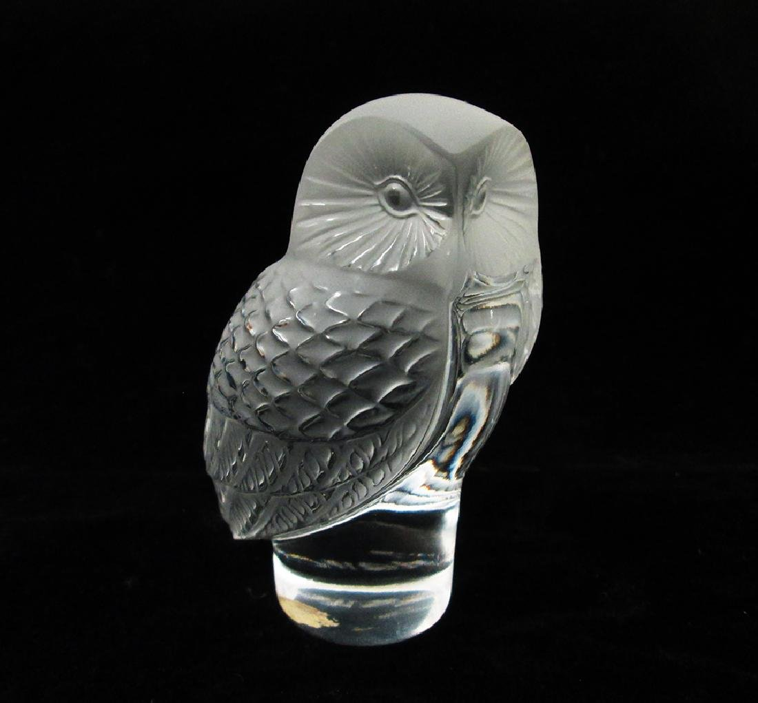 LALIQUE CRYSTAL OWL FIGURINE