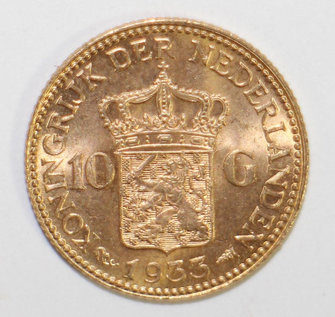 1933 NETHERLANDS 10G GOLD COIN - 2