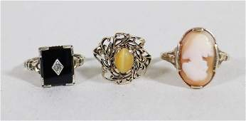 VICTORIAN 14K, 10K, GOLD AND STERLING RINGS
