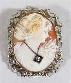 ANTIQUE 14K HABILLE CAMEO BROOCH