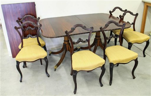 Remarkable Duncan Phyfe Style Dining Table 6 Chairs Home Interior And Landscaping Ologienasavecom