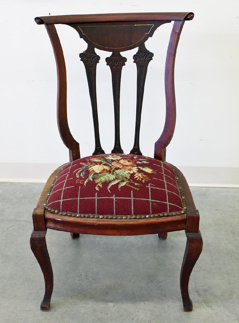 ANTIQUE CHAIR W/ NEEDLEPOINT SEAT