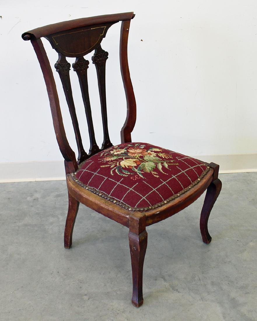 ANTIQUE CHAIR W/ NEEDLEPOINT SEAT - 2