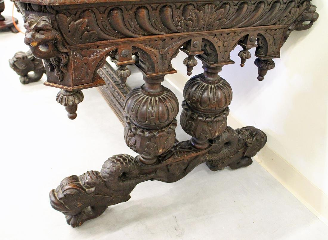 VICTORIAN FRENCH CARVED OAK WRITING DESK - 4