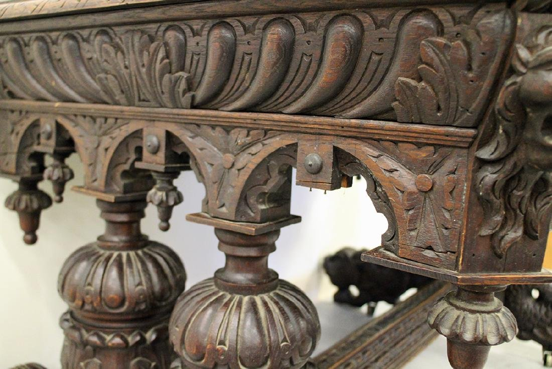 VICTORIAN FRENCH CARVED OAK WRITING DESK - 6