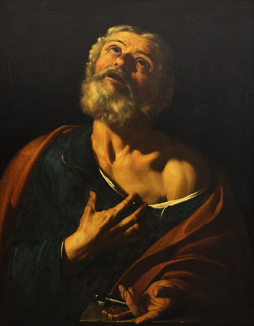 SAINT PETER OIL ON CANVAS NEAPOLITAN SCHOOL PAINTING