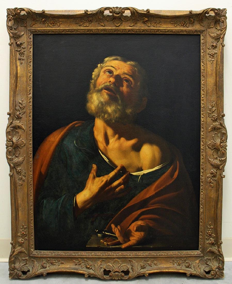 SAINT PETER OIL ON CANVAS NEAPOLITAN SCHOOL PAINTING - 2