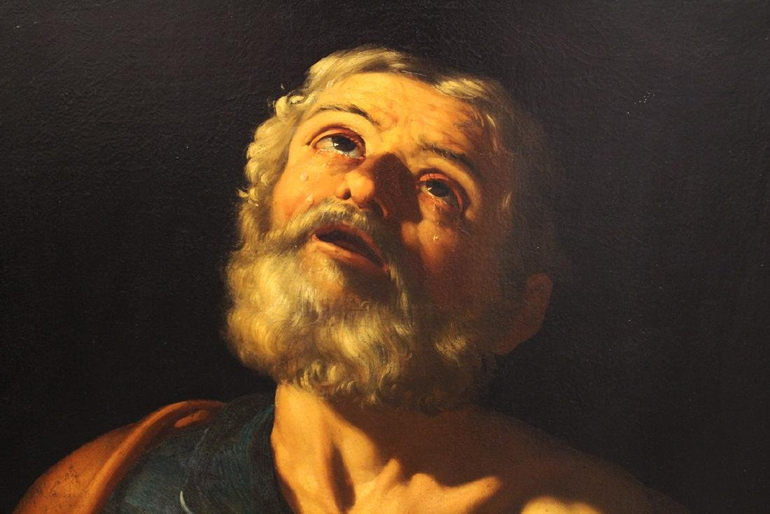 SAINT PETER OIL ON CANVAS NEAPOLITAN SCHOOL PAINTING - 3