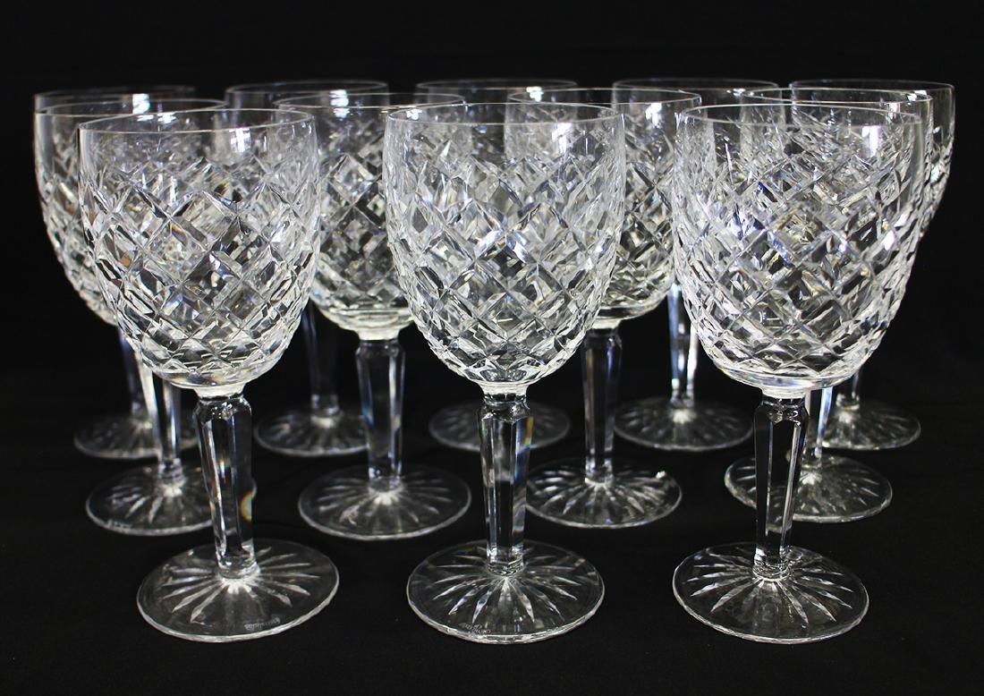 "(12) WATERFORD CRYSTAL COMERAGH 6.5"" WINE GLASSES"