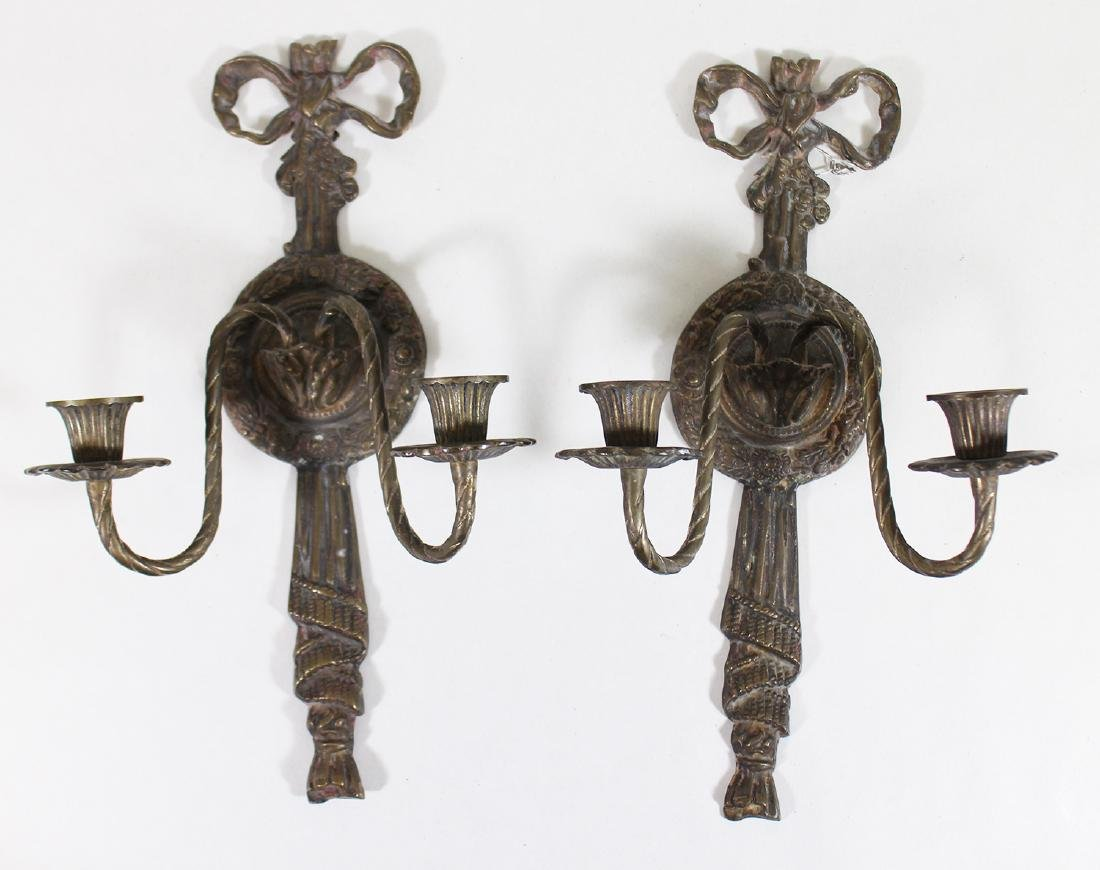 (2) NEOCLASSICAL STYLE GILT BRONZE WALL SCONCES