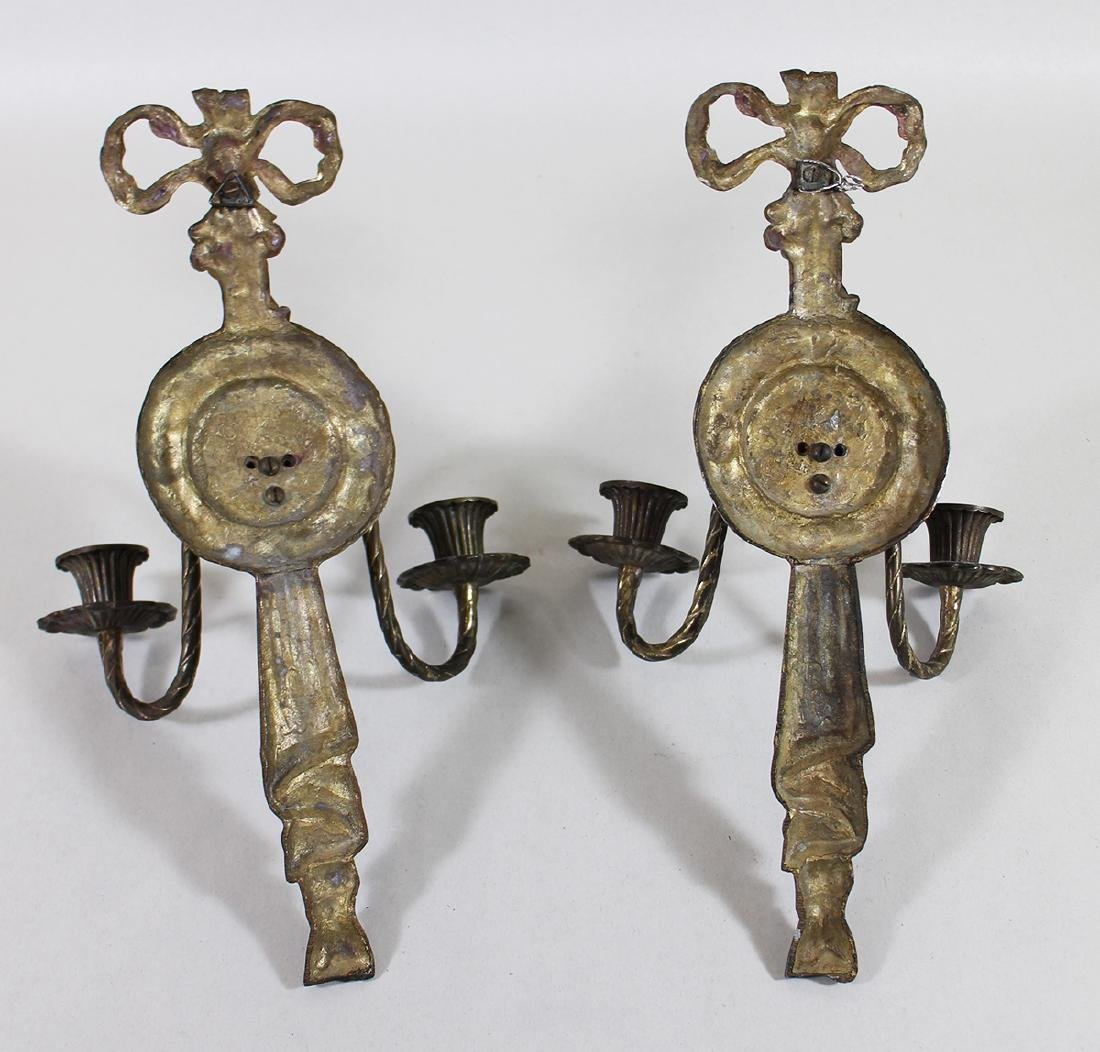 (2) NEOCLASSICAL STYLE GILT BRONZE WALL SCONCES - 4