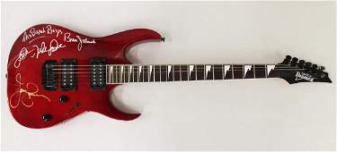 THE BEACH BOYS AUTOGRAPHED RED IBANEZ GUITAR
