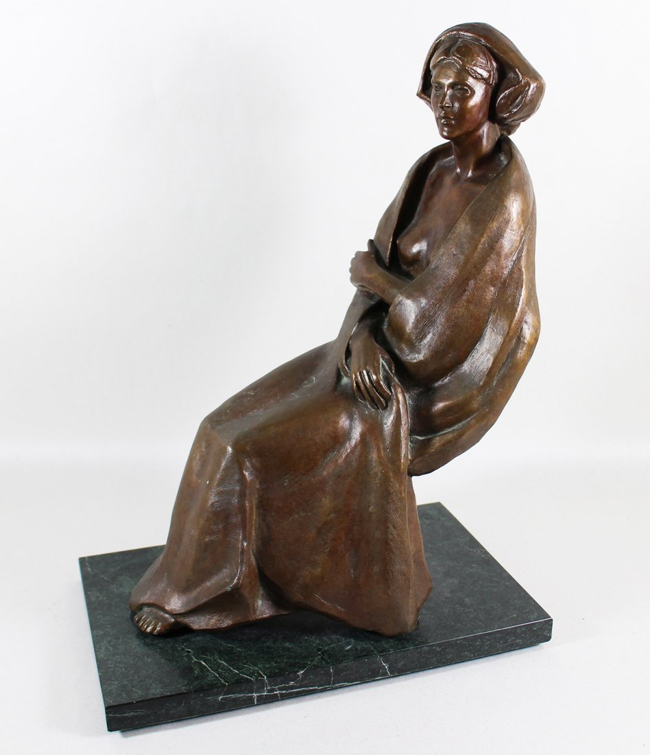 SEATED WOMAN BRONZE SCULPTURE