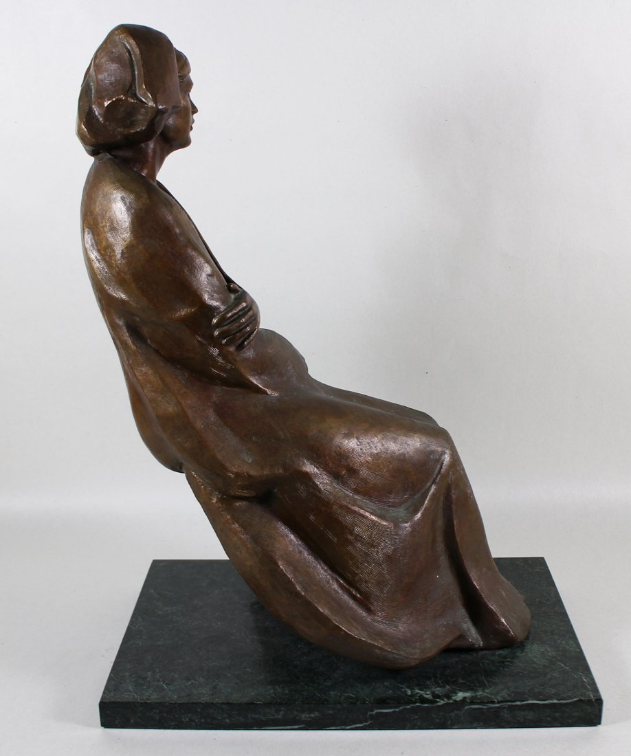 SEATED WOMAN BRONZE SCULPTURE - 2