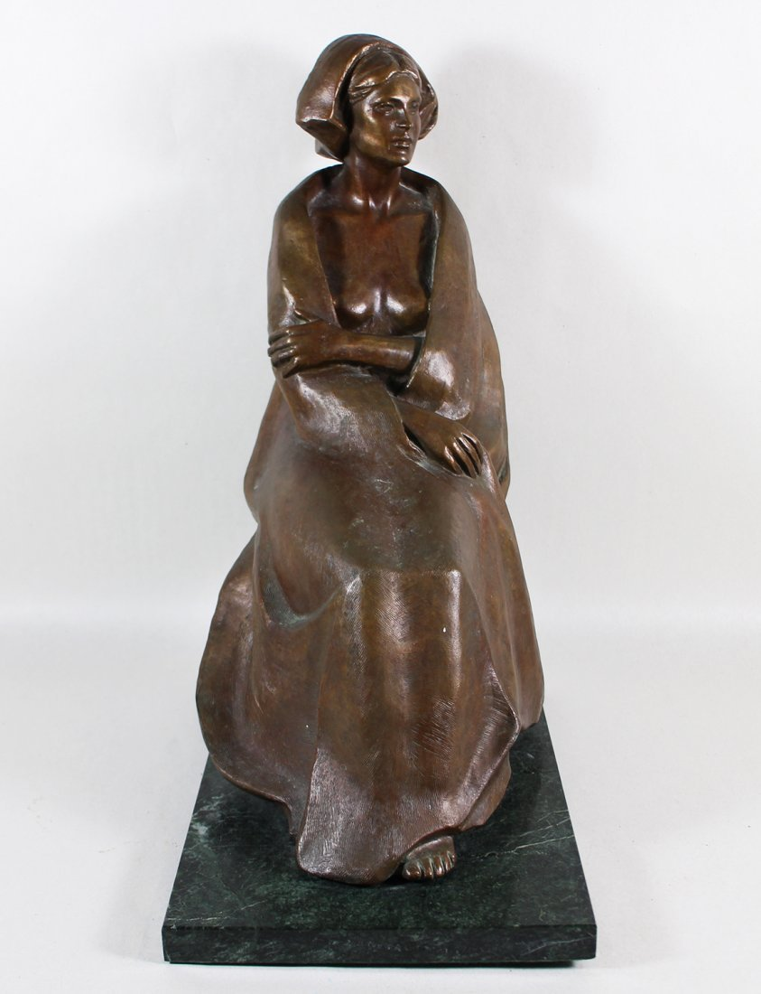 SEATED WOMAN BRONZE SCULPTURE - 3