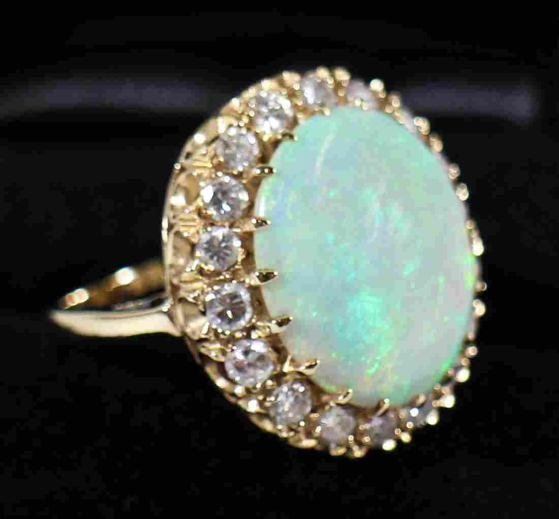 14K GOLD 15 CARAT OPAL & DIAMOND HALO RING