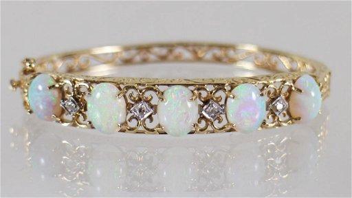 Vintage 14k Gold Opal Diamond Bracelet