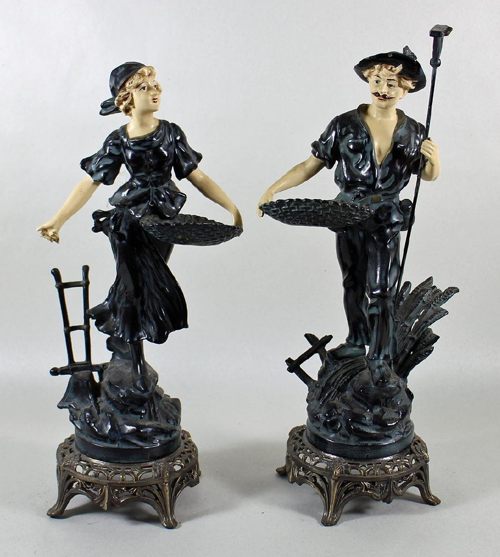 (2) VINTAGE COLD PAINTED METAL FRENCH PEASANTS