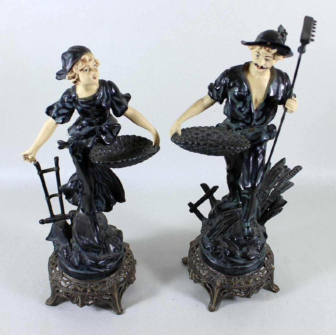 (2) VINTAGE COLD PAINTED METAL FRENCH PEASANTS - 2