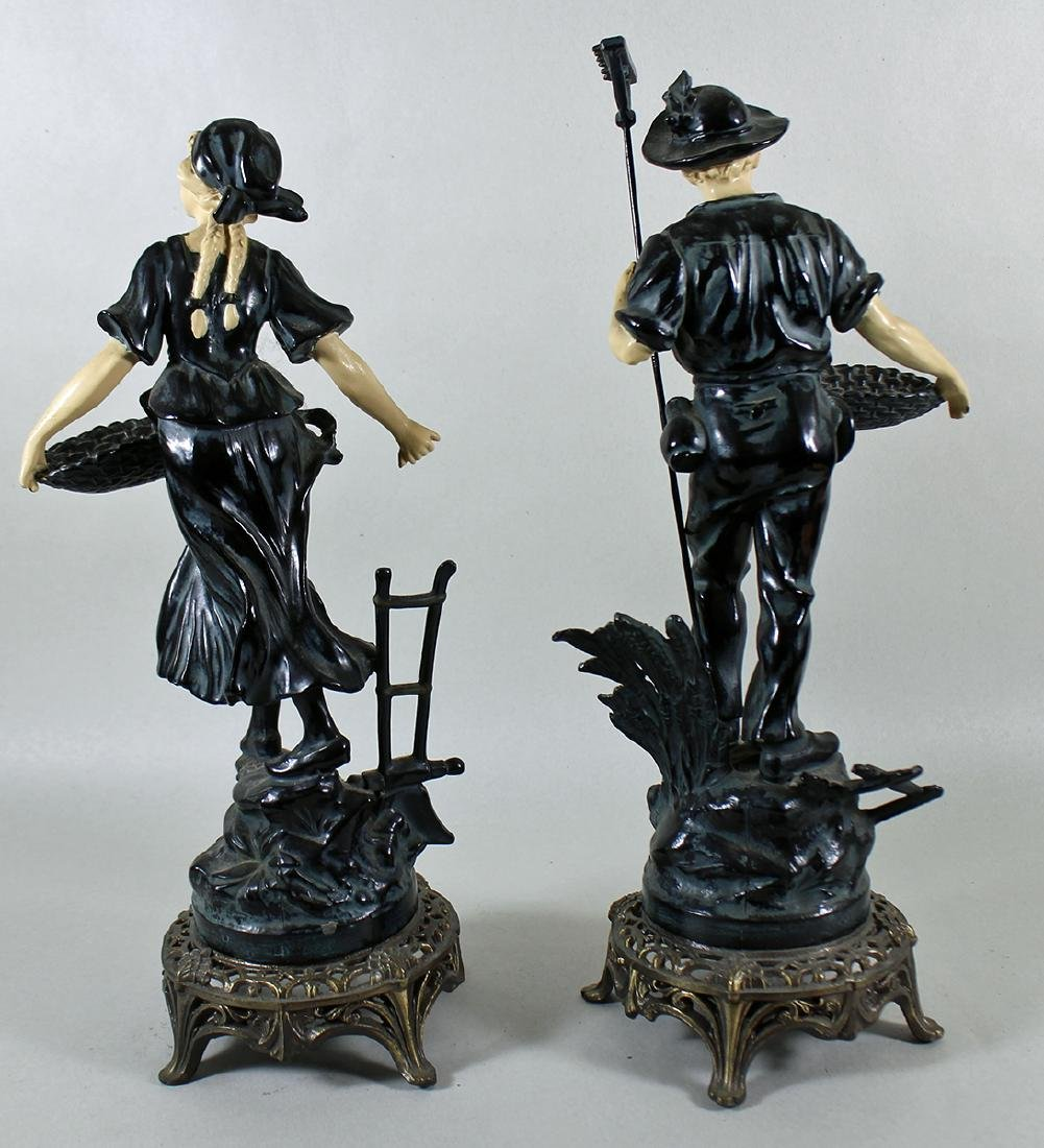(2) VINTAGE COLD PAINTED METAL FRENCH PEASANTS - 3