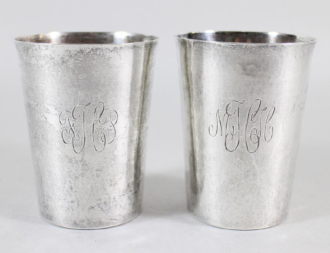 (2) HAND WROUGHT STERLING SILVER MINT JULEP CUPS